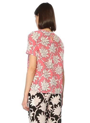 Valentino Kısa Kollu Çiçekli Bluz Pembe